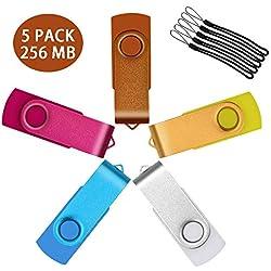 Uflatek 5 Pièces 256 Mo Clés USB 2.0 Rotatif U Disk Haute Vitesse Mémoire Stick Couleur Mixte Pendrives - Orange/Jaune/Blanc/Bleu Ciel/Rose Rouge