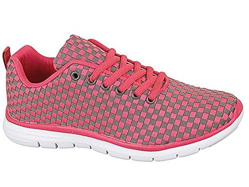 Tech Air-Scarpe da corsa da donna, con anti-Shock per scarpe da Fitness, palestra, sport, taglia 4-8 Grey/Rose
