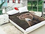 all4all Tagesdecke Wohndecke Bettüberwurf Kuscheldecke Decke160x200 Mikrofaser Fotodruck (Bär)
