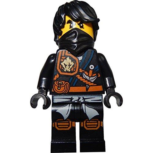 LEGO Ninjago: Minifigur Cole (schwarzer Ninja mit Haar) mit Katana (Schwert) (Schwarzes Ninja-schwert)