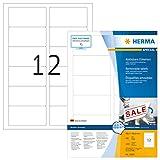 Herma 10304 Etiketten ablösbar, wieder haftend (88,9 x 46,6 mm) weiß, 1.200 Aufkleber, 100 Blatt DIN A4 Papier matt, bedruckbar, selbstklebend, Movables
