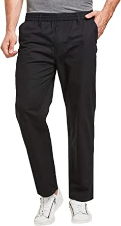 JustSun Chino Trousers for Men Casual Chinos Regular Fit Pants Elasticated Waist