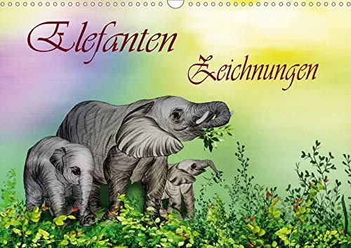Elefanten Zeichnungen (Wandkalender 2020 DIN A3 quer): Buntstift Zeichnungen (Monatskalender, 14 Seiten...