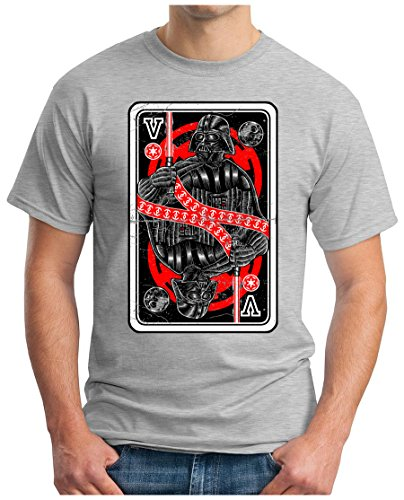 OM3 - DARTH-KING - T-Shirt POKER JOKER ROYAL FLUSH SKAT KÖNIG DAME ASS TEXAS EMO, S - 5XL Grau Meliert