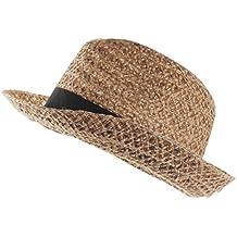 7e3ff7b3e3058 Pinzhi Cinta De Paja Corto Sombrero De Jazz Sombrero De Playa Mujer Sombrero  De Playa Ancho