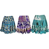 Womens Freya Silk Skirt Full Flare Recycled Sari Tiered Knee Length Skirts Lot Of 3 Set