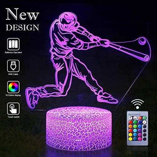 Baseball Lampen Fernbedienung 3D Vision Effekt LED RGB Nachtlichter Anleitung Schlafzimmer Schreibtisch Tischlampe Dekor Geburtstag Weihnachtsgeschenk Entscheidungen für Sportliebhaber Kinder Jungen