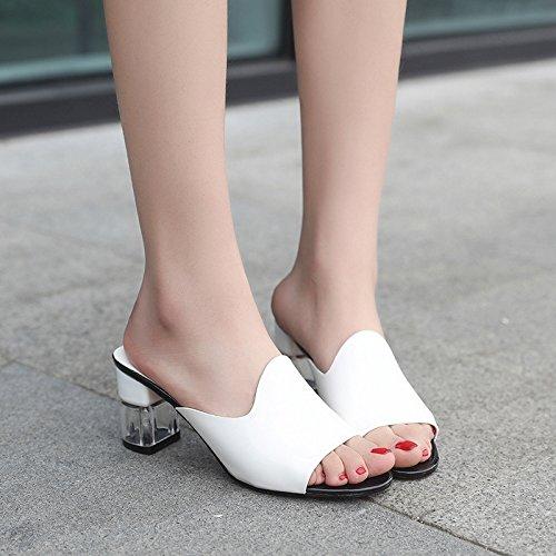 ZYUSHIZ Frau Coole Hausschuhe High-Heel Bold Text mit dem ersten Feld Hausschuhe Open Toe Sandalen mit 36EU