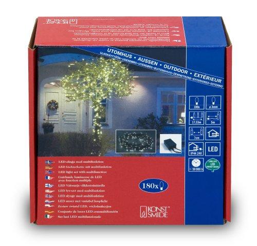 Konstsmide 3632-110 Micro LED Lichterkette / für Außen (IP44) /  24V Außentrafo / mit 8 Funktionen, Steuergerät und Memoryfunktion / 180 warm weiße Dioden / schwarzes Kabel
