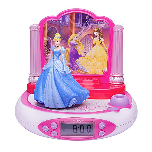 Disney Princesas, Radio Despertador con Proyección De La Hora, Rosa (Lexibook RP510DP)