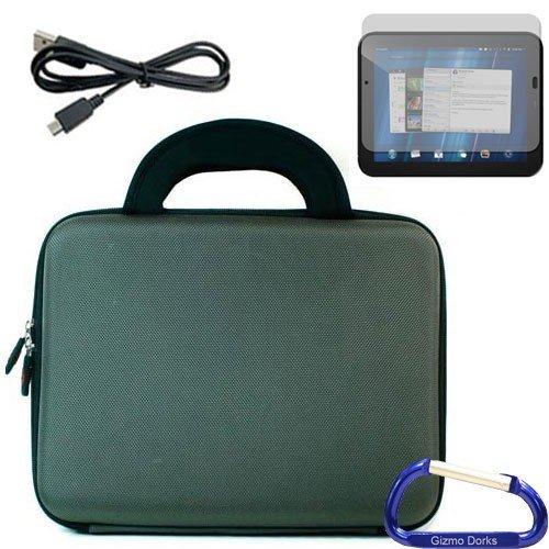 Gizmo Dorks Hard Shell EVA-Fall mit Neopren Griffe (Rauch), Displayschutzfolie, und Micro-USB-Kabel Und Karabiner Schlüsselanhänger für HP TouchPad Schlüsselanhänger Touchpad