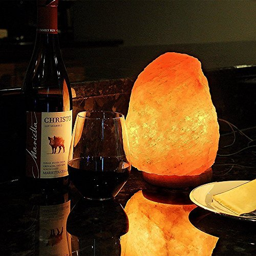 Himalayan Salt Lamp Hand Carved Crystal Rock Lamp with Genuine Neem Wood Base includes 15 Watt Blub and Rotary Dimmer Switch, Amber Night Light by Hippih (7-9 Inch,4.4-6.6 lbs) (Rotary Light Switch)