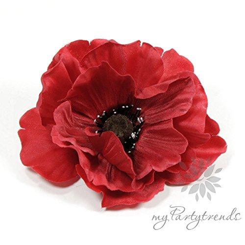 rote Ansteckblume 'Mohn' (Ø 11 cm; Höhe 4 cm) mit Krokodilspange (Haarblume, Haarblüte, Ansteckblüte, Haarschmuck, Mohnblüte, Mohnblume, Seidenblume) (Haar-accessoires Seidenblumen)