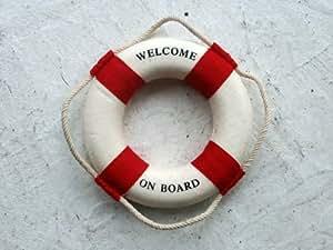 Maritime Deko Rettungsring Welcome on Board rot/weiß