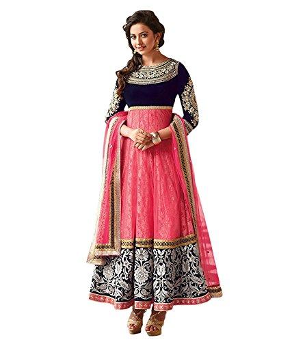 Rapid Dukan Women's Brasso Semi Stitched Anarkali Suit (SF117_Pink_Free Size)