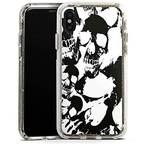 DeinDesign Apple iPhone XS Bumper Hülle Gold transparent Bumper Case Schutzhülle Glitzer Look Skull Gothic - Halloween Gothic-look Für