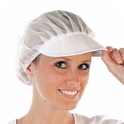 HYGOSTAR [10 Stück] Netzhaube mit Schirm aus Polyester weiß