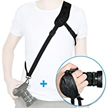 Rovtop Kit de Correa de hombro para cámara y Grip de Muñeca para Nikon Canon FujiFilm Olympus Cámara Digital SLR DSLR DV Negro