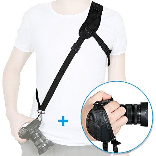 Rovtop 2 en 1 Kit de Correa de Hombro para Cámara y Grip de Muñeca para Nikon Canon FujiFilm Olympus Cámara Digital SLR DSLR DV Negro
