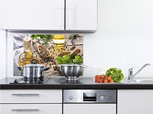 GRAZDesign 200144_80x50_SP Spritzschutz Glas für Küche/Herd | Motiv Kräuter und Gewürze | Küchenrückwand Küchenspiegel Glasrückwand (80x50cm)
