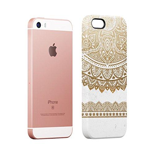 Henna Turquoise Lotus Blossom Yin Yang Dünne Rückschale aus Hartplastik für iPhone 5 & iPhone 5s & iPhone SE Handy Hülle Schutzhülle Slim Fit Case cover Golden Mandala