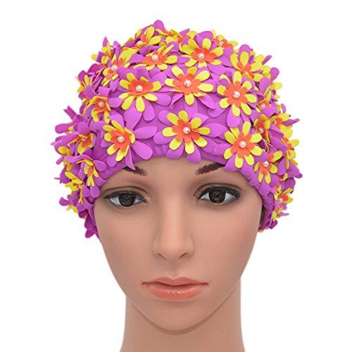 Medifier Gorro de natación con diseño Floral, Retro Estilo de, Campana de baño para Mujer, Morado