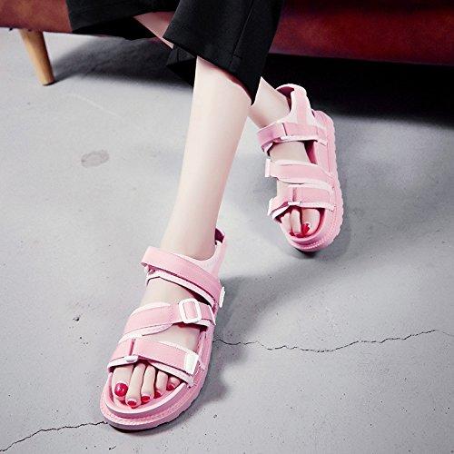 RUGAI-UE Estate sandali donne le suole spesse scarpe da spiaggia scarpe antislittamento Pink