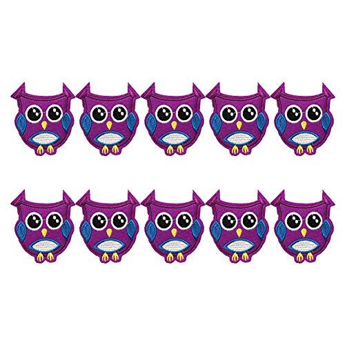 Lumanuby 10x Stickerei Eule Aufnäher für Mädchen Jungen Kleidung Als Pullover Hoody Mantel Jeans T-Shirt Embroidery Bunt Owl Patch Mehrzweck für Westen, Hüte, Aufnäher Serie Size 7 * 5.5cm (Stil K)