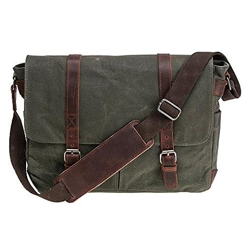 Waterproof Canvas Unisex Vintage Canvas Genuine Leather Messenger Bag Travel Briefcase Crossbody Satchel Shoulder Bag (Army Green)