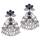 #5: Trijya Exports Designer Leaf & Peacock Shape in Blue Stone & White Cubic Zirconia Look Like Original Silver Oxidised Dangler Earrings for Womens & Girls