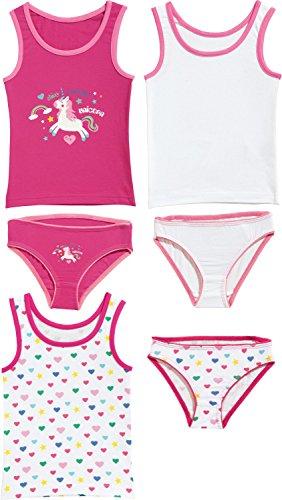 Kinderbutt Unterwäsche-Set 6-tlg. mit Druckmotiv Einhorn Single-Jersey pink/weiß Größe 86 / 92 (6 Unterwäsche Mädchen)