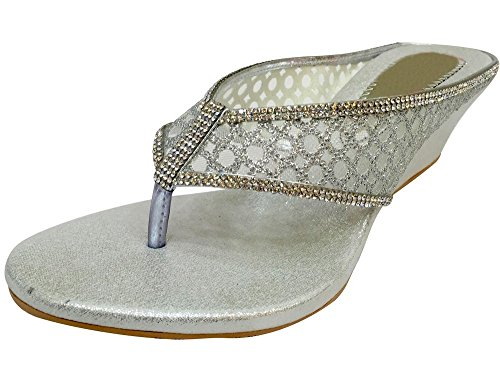 Step n Style Womens Bridal Mid Heel Ladies White Silver Party Wedge Shoes
