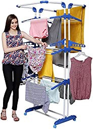 PARASNATH Prime Stainless Steel 3 Poll Clothes Drying Stand with Breaking Wheel System (Blue)