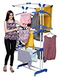 #4: PARASNATH Prime Stainless Steel 3 Poll Clothes Drying Stand With Breaking Wheel System- Blue