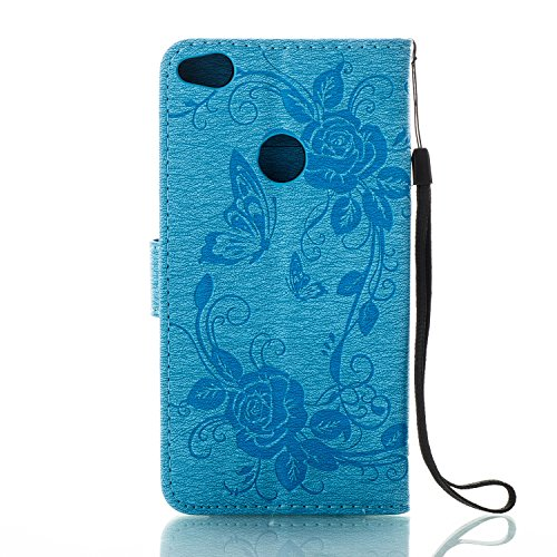 Custodia Cover Huawei P8 Lite 2017 - ISAKEN Accessories Cover in PU Pelle Portafoglio Tinta Unita Custodia, Elegante Fiori Farfalle Pattern Design in Sintetica Ecopelle Libro Bookstyle Wallet Flip Por Fiore: blu
