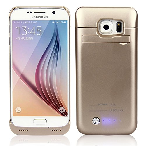 Happon for Samsung Galaxy S6 G9200 4200mAh Rechargeable External Battery Backup Protective Case Power Bank Charger Cover with Kickstand (Golden)