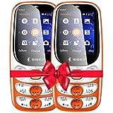 SSKY S9007 Rainbow (Dual Sim, 2.4 Inch Display, 1800 Mah Battery Combo Pack Of 2 Mobile -Orange
