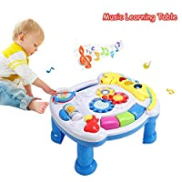 DQTYE Baby Musical Learning Table Electronic Music Activity Center Game Play and Learn Early Education Toy for Kids Babies Toddler