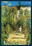 Bild mit Rahmen Claude Monet - Artist 's Garden at Vetheuil - Holz blau, 70 x 100cm - Premiumqualität - Impressionismus, Garten, Gartenweg, Kind, Sonnenblumen, Blumen, Licht / Schatten, Blüten.. - MADE IN GERMANY - ART-GALERIE-SHOPde
