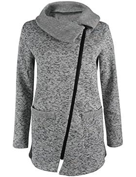 OverDose La camiseta larga de la cremallera de la capa de la chaqueta con capucha ocasional de las mujeres Outwear...