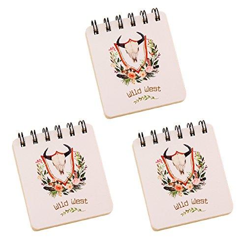 itemer Creative Mini Spiral Notebooks Floral Serie Notizbuch Pocket Notizblock, 80Blatt, Set von 3 a (Notebook Kleine Spirale)