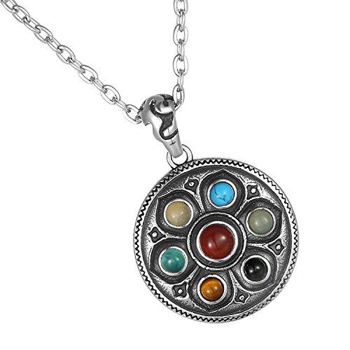Cupimatch Herren Halskette, Exquisit Edelstahl Sechs Worte des Mantra Buddhismus Gravur Kugel Anhänger mit 55 Kette Halsband, silber