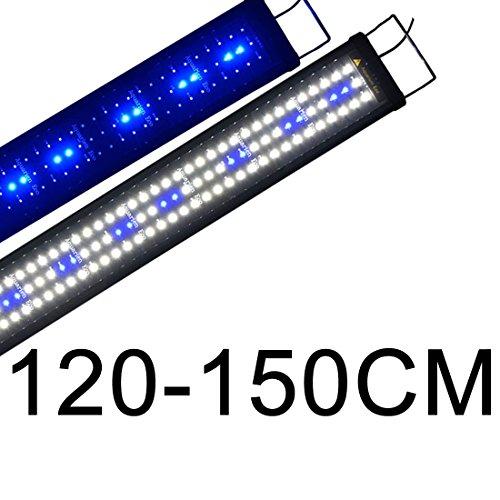 Lumiereholic LED Aquarium Beleuchtung Fisch Tank Lampe Blau Weiß Leuchte Pflanzen Aufsetzleuchte 120-150cm -