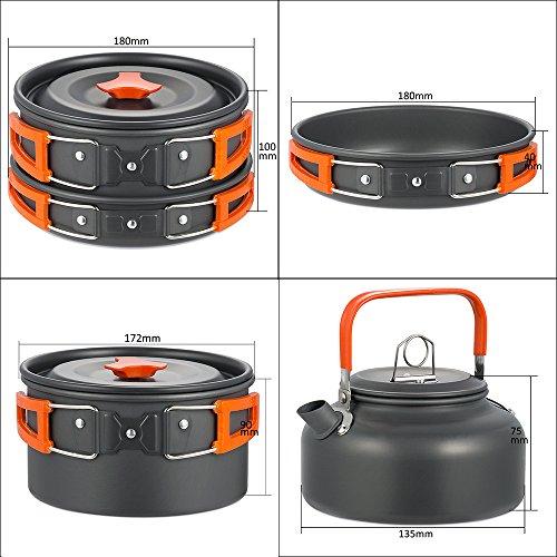 Skysper Aluminum Camping Pot Pan Cookware Outdoor Cooking Set For Camping Hiking