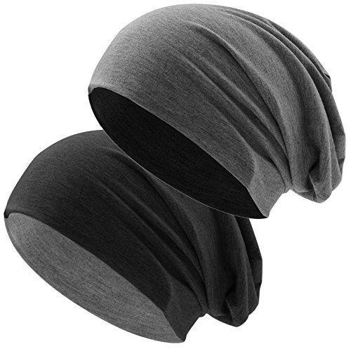 Hatstar Bicolor Jersey Slouch Long Beanie Mütze, leicht und weich, Reversible Beanie für Damen und Herren (Zwei-farbig | Bicolor schwarz-dunkelgrau)