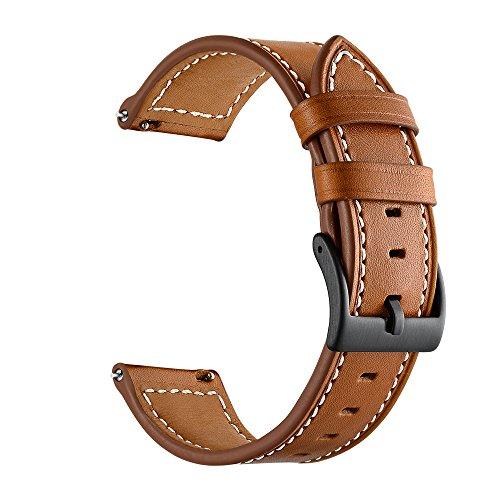 Feicuan Banda de reloj de cuero genuino para Garmin vivoactive 3, 20mm correa de pulsera de reemplazo ajustable clásico para hombres Mujeres (Brown)