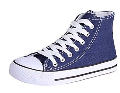 Honeystore Unisex's Schnürung Leinwand Flache High-Cut Schuhe Erwachsene Sneaker Blau 38 EU J6YZn