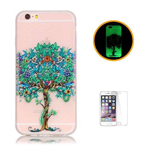CaseHome iPhone 6 Plus/6S Plus 5.5'' Luminous Hülle (Mit Frie Displayschutzfolie) Leuchtende Silikone Rückhülle Für iPhone 6 6s Plus 5.5 Zoll Zoll Silikon Etui Handy Hülle Weiche Transparente Luminous Baum des Lebens