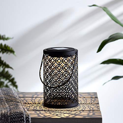 Lights4fun Solar Laterne schwarz Metall gemustert 16cm