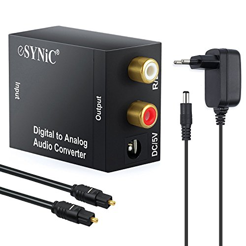 DAC Digital Audio Wandler Digital zu Analog Audio Konverter - Optischer Koaxialer Toslink zu analogen Stereo RCA Audio Konverter für PS3 XBox 360 HDTV Blu RAY DVD Sky HD Fire TV Box mit EU Plug Adapter - Schwarz